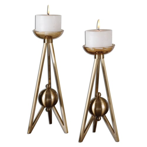 Uttermost 19845 Andar Coffee Bronze Candle Holders - Cream Candles