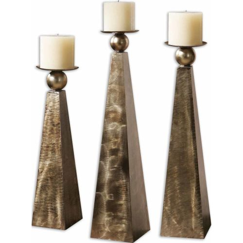 Uttermost 19652 Cesano Set of 3 Candle Holders Rustic Bronze Home