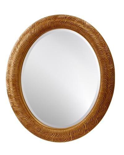 newport oval mirror gold antique veining