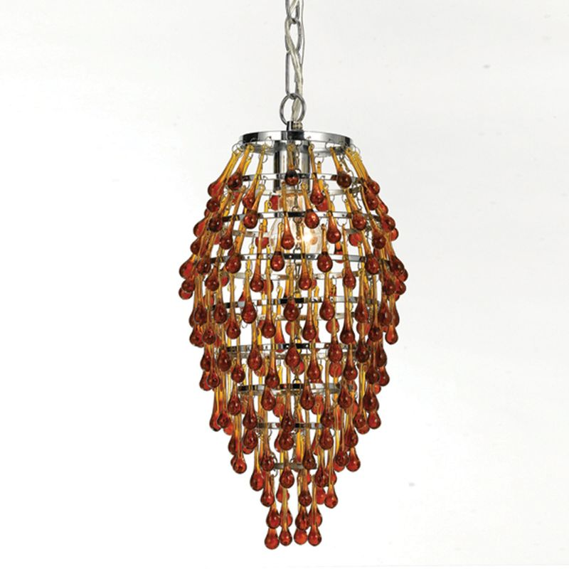 "AF Lighting 8124-1H Elements Series ""Crystal Teardrop"" Chandelier with"