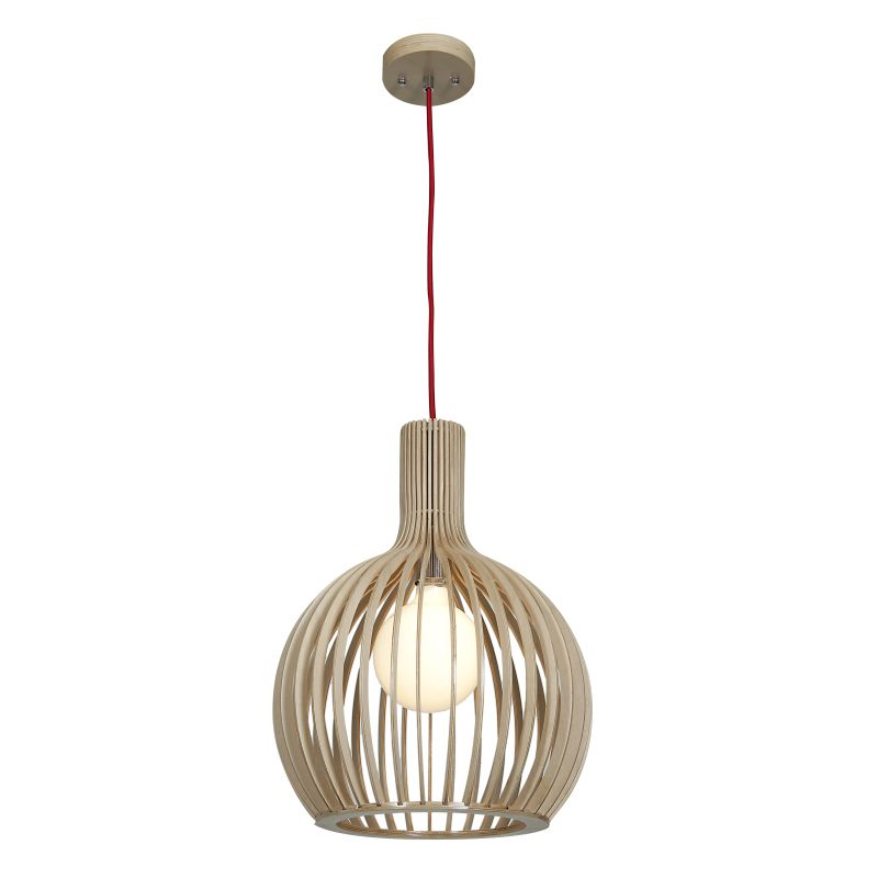 Access Lighting 23773 Kobu 1 Light Globe Pendant Natural Wood Indoor