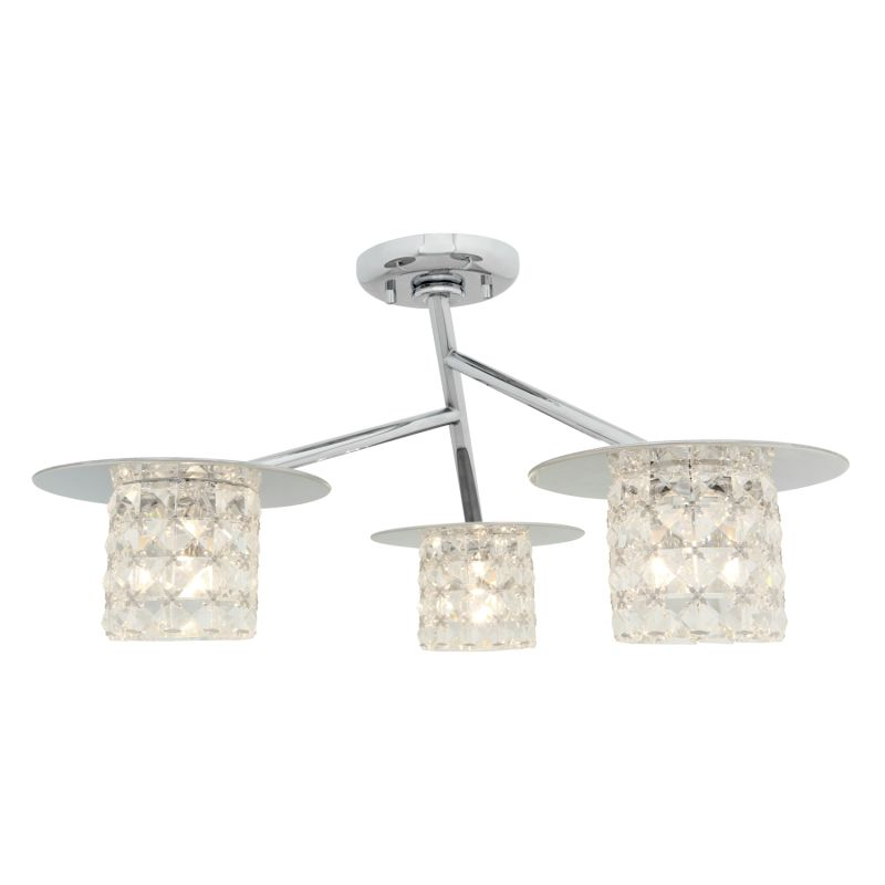 Access Lighting 23924 Prizm 3 Light Semi-Flush Ceiling Fixture Chrome