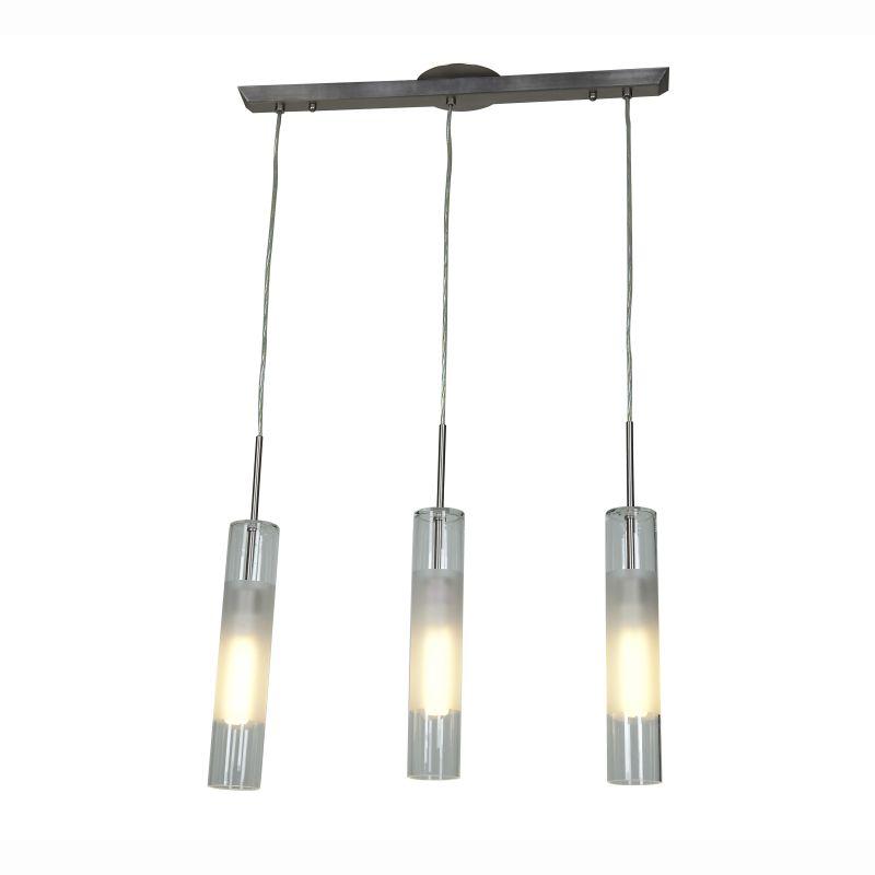 Access Lighting 50548 Dezi 3 Light Linear Pendant Brushed Steel Indoor