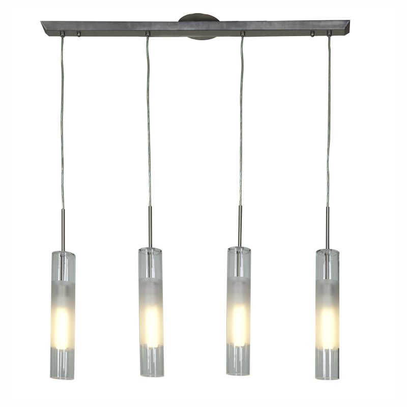 Access Lighting 50549 Dezi 4 Light Linear Pendant Brushed Steel Indoor
