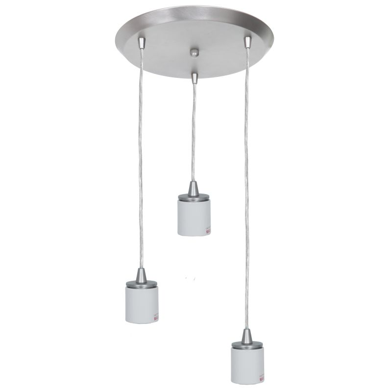 Access Lighting 52230GU Circ 3 Light Round Pendant Brushed Steel