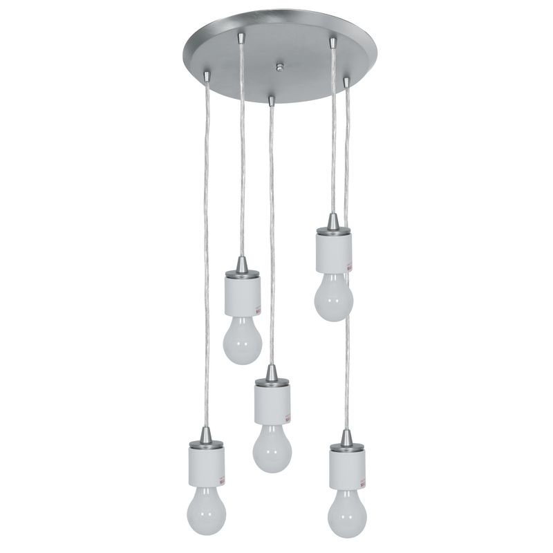 Access Lighting 52232 Circ 5 Light Round Pendant Brushed Steel Indoor