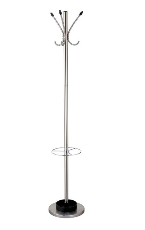 Adesso WK2058-22 Umbrella Stand and Coat Rack Satin Steel Furniture