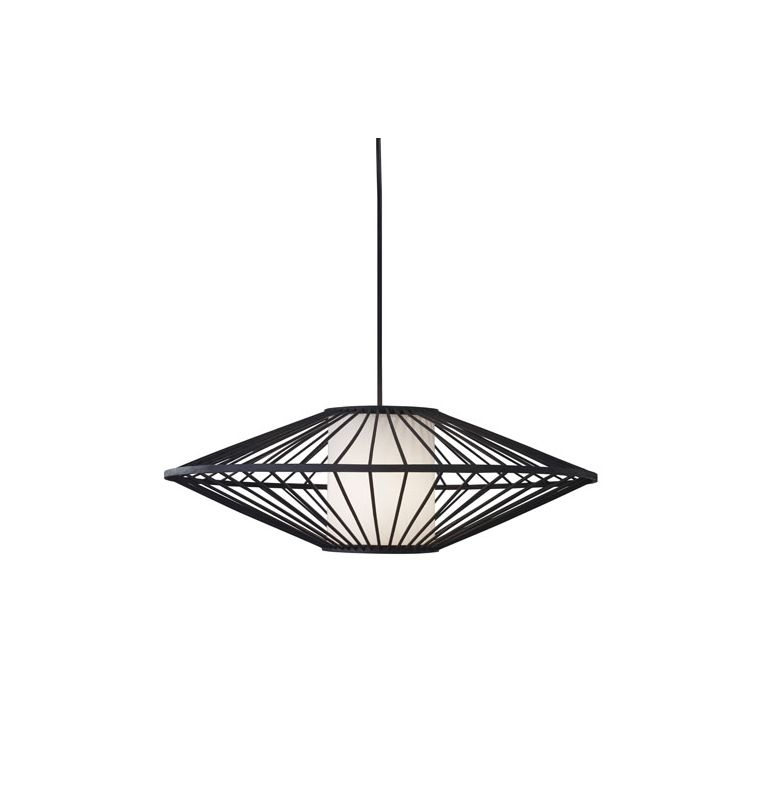 "Adesso 3490 Calypso 24"" Wide 1 Light Pendant with Rattan Shade Black"