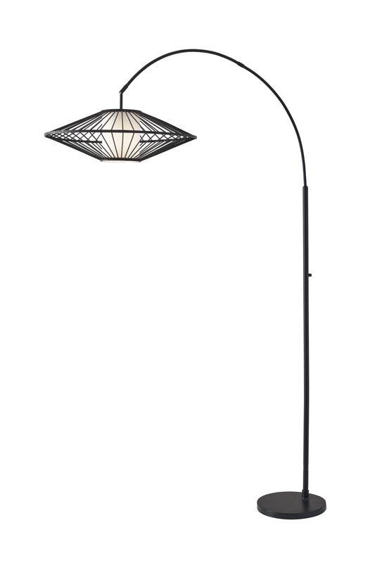 "Adesso 3493 Calypso 1 Light 72"" Tall Arc Floor Lamp with Rattan Shade Sale $262.50 ITEM: bci2958604 ID#:3493-01 UPC: 798919349319 :"