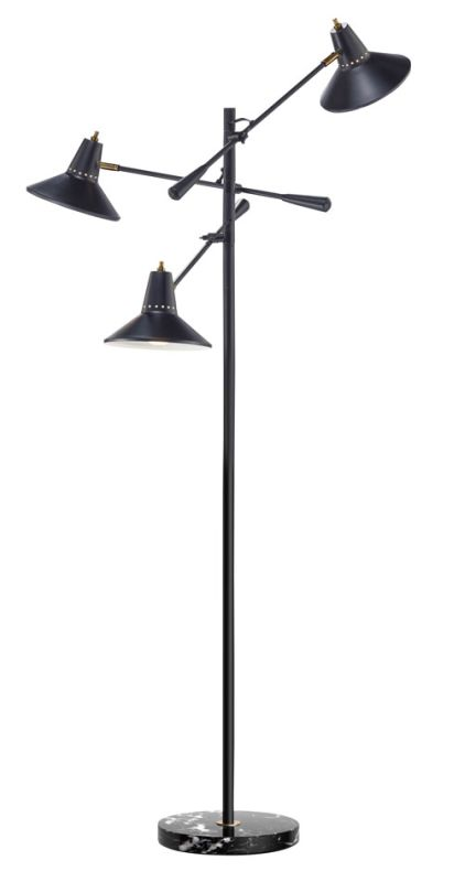 "Adesso 3683 Nelson 3 Light 26"" Tall Tree Floor Lamp with Metal Shades"