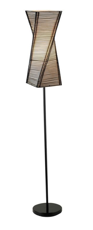 "Adesso 4047 Stix 1 Light 64.5"" Tall Floor Lamp with Black Cane Stick"