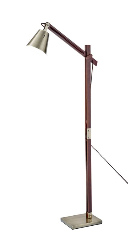 """Adesso 4076 Clark 1 Light 8"""" Tall Boom Arm Floor Lamp with Antique"""