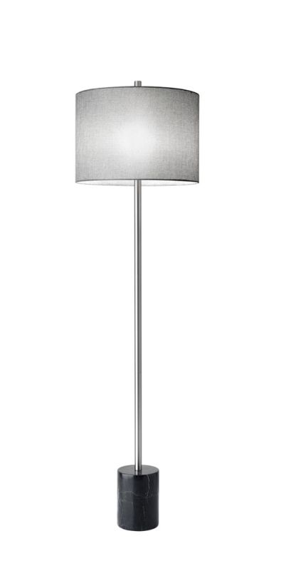 "Adesso 5281 Blythe 1 Light 64"" Tall Floor Lamp with Linen Shade Grey"