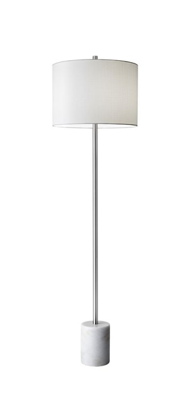 "Adesso 5281 Blythe 1 Light 64"" Tall Floor Lamp with Linen Shade White"