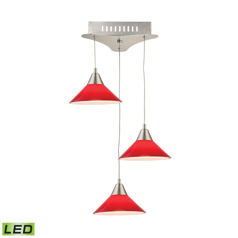 Alico LCA103-11 Integrated LED Full Sized Pendant with Red Glass Shade
