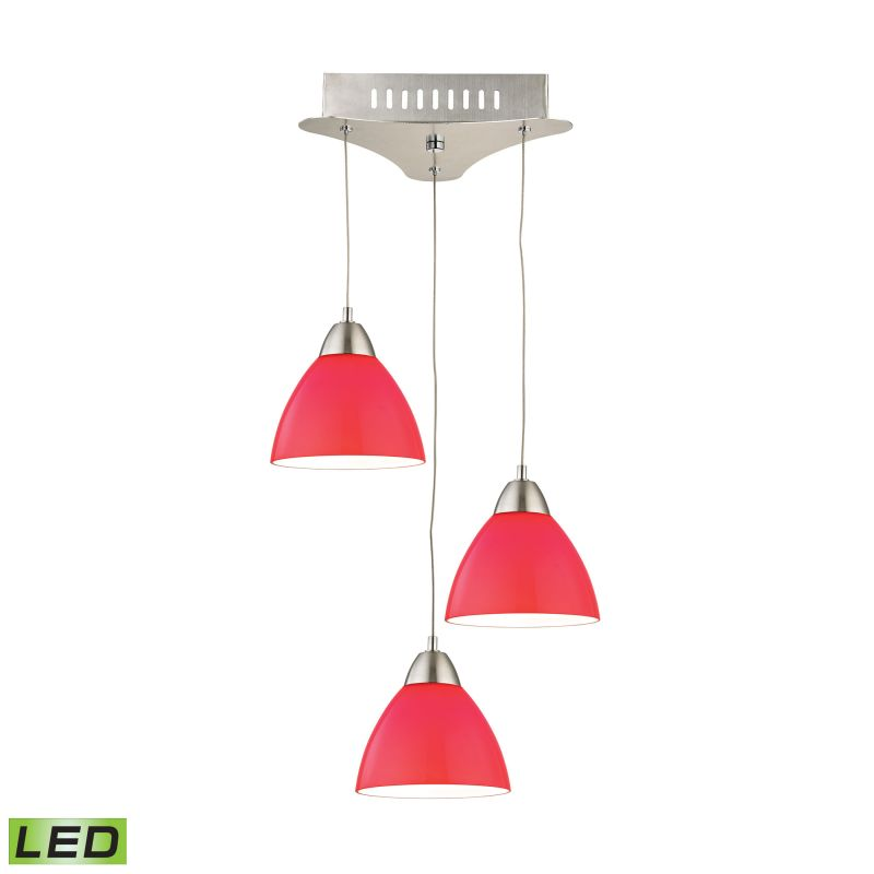 Alico LCA303-11 Integrated LED Full Sized Pendant with Red Glass Shade