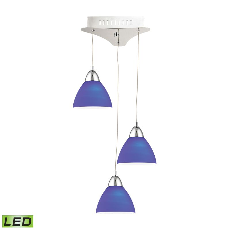 Alico LCA303-7 Integrated LED Full Sized Pendant with Blue Glass Shade