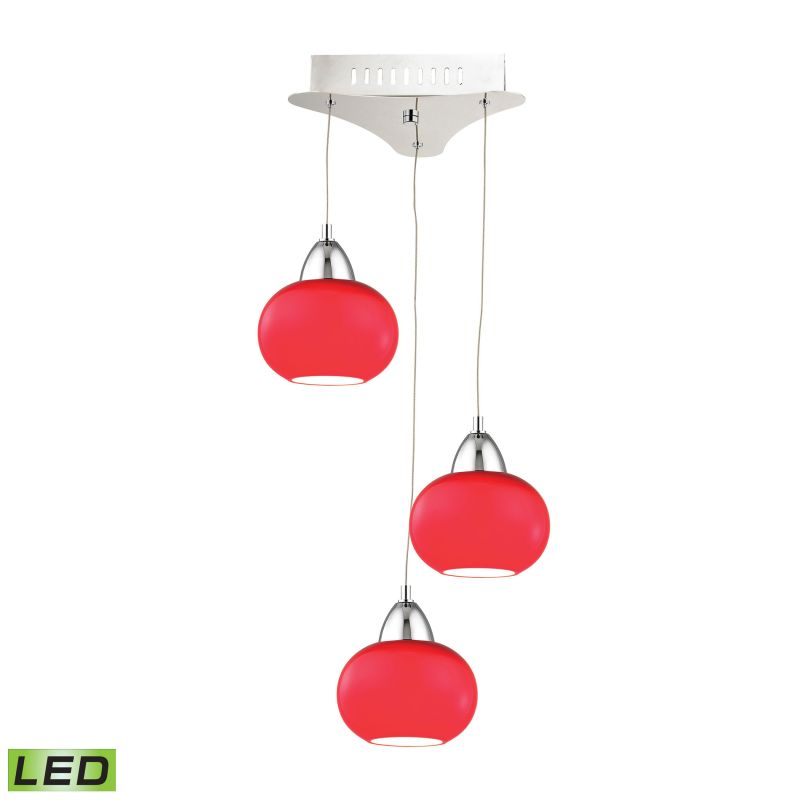 Alico LCA403-11 Integrated LED Full Sized Pendant with Red Glass Shade