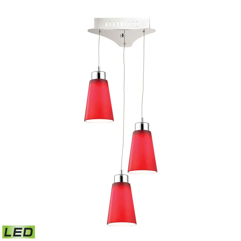 Alico LCA503-11 Integrated LED Full Sized Pendant with Red Glass Shade