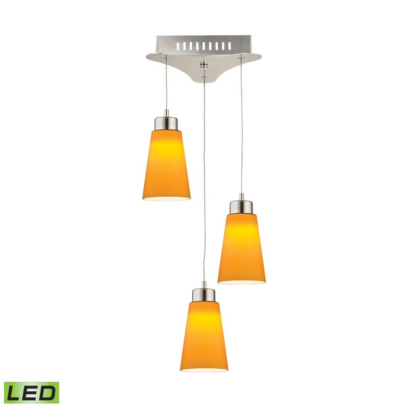 Alico LCA503-8 Integrated LED Full Sized Pendant with Yellow Glass