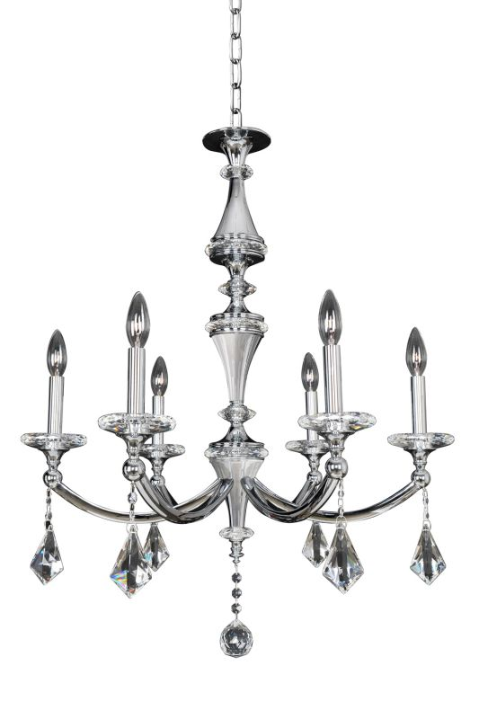 Allegri 012171 Floridia 6 Light 1 Tier Chandelier Polished Chrome