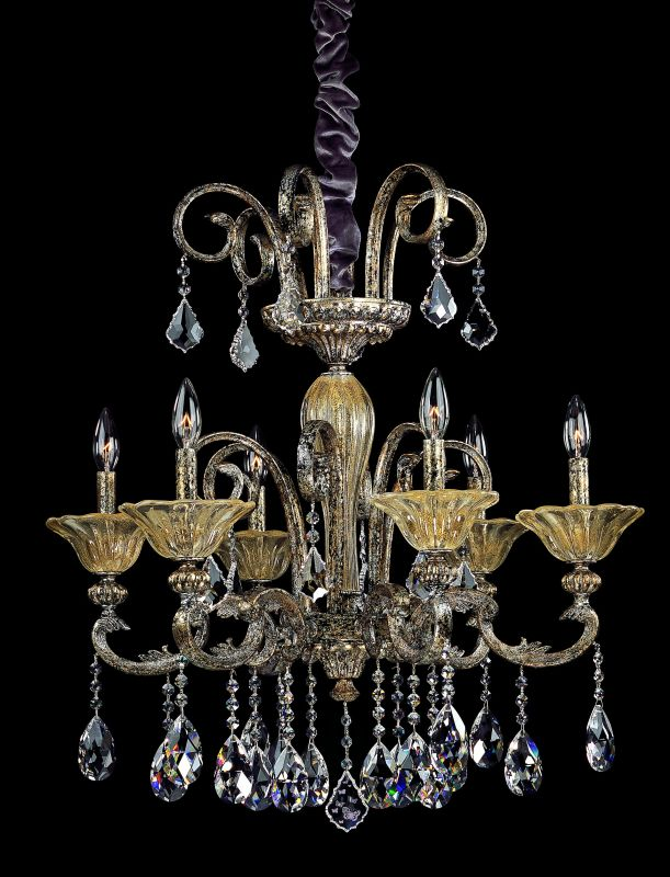 Allegri 10458 Legrenzi 6 Light Single Tier Chandelier Antique Silver