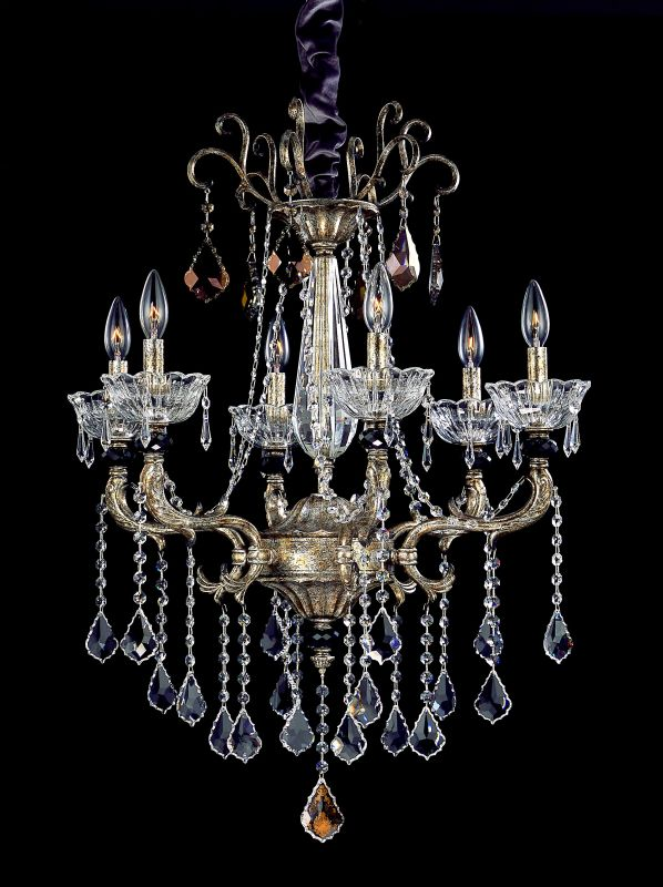 Allegri 10466 Campra 6 Light Single Tier Chandelier Antique Silver