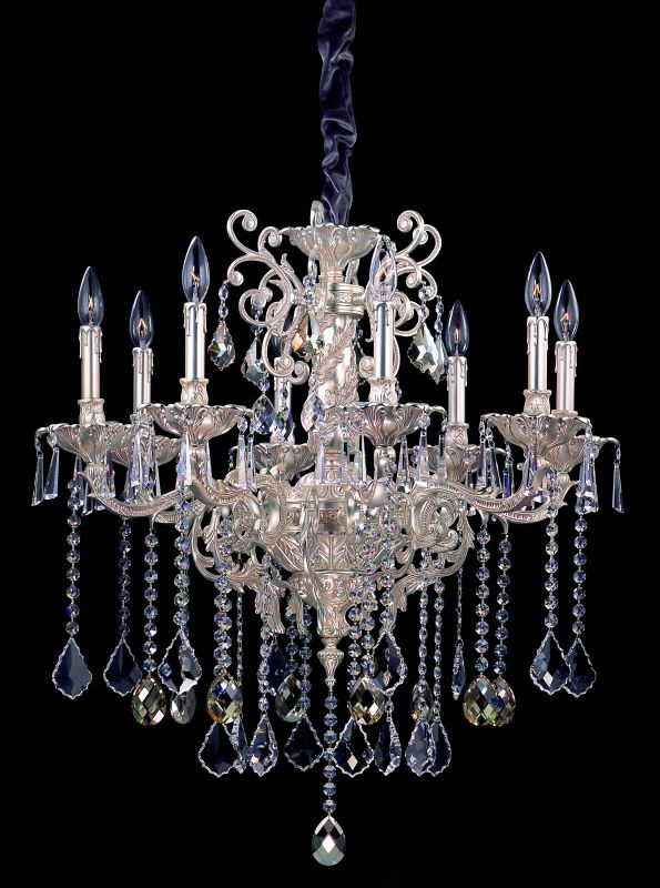 Allegri 10479 Marcello 8 Light Single Tier Chandelier Antique Silver