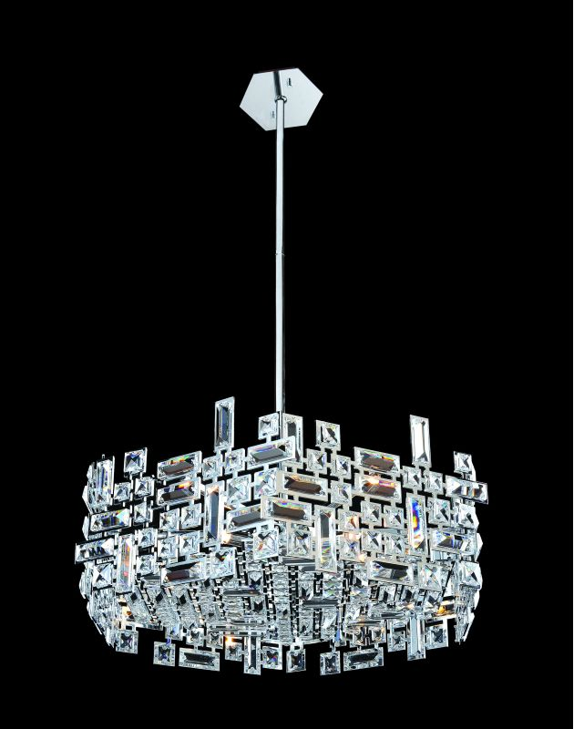 Allegri 11197 Vermeer 6 Light Pendant Chrome with Clear Crystals
