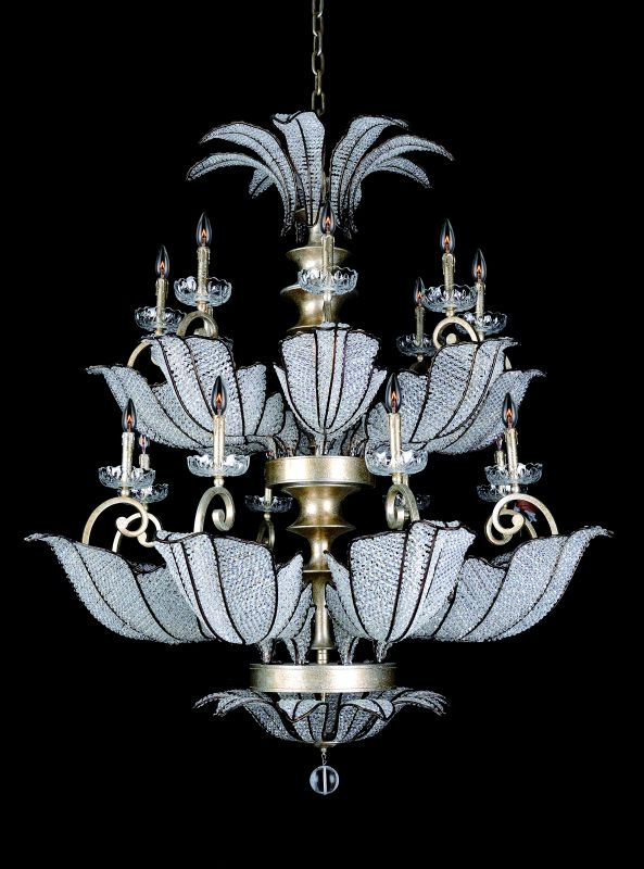 Allegri 11259 Tiepolo 16 Light Two Tier Chandelier Silver Leaf SB with