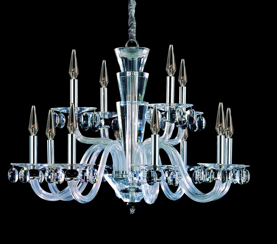 Allegri 11528 Fanshawe 12 Light Two Tier Chandelier Chrome with Clear