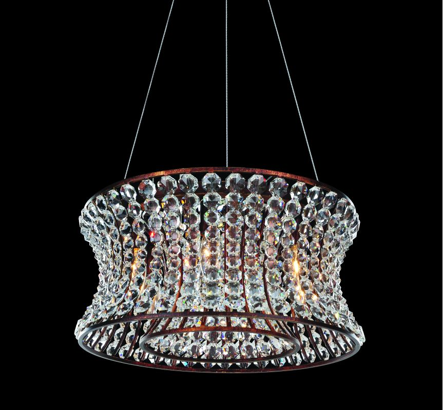 Allegri 11730 Corsette 6 Light Pendant Tuscan Gold with Clear Crystals