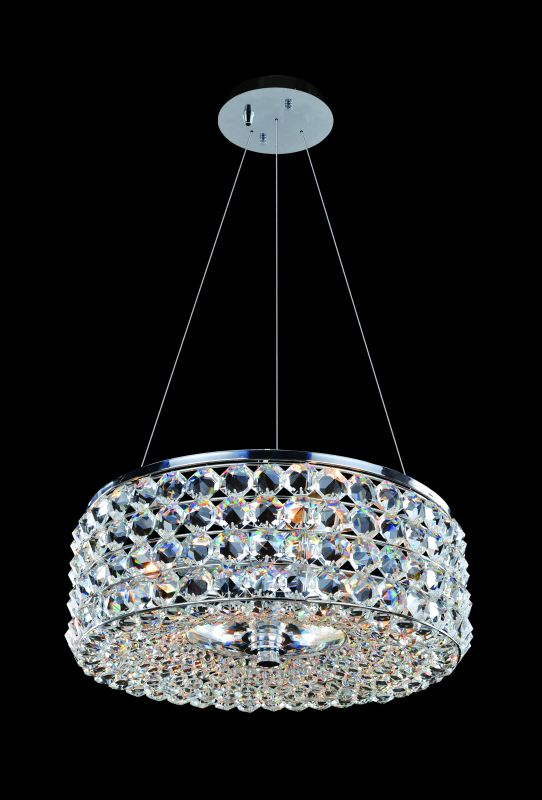 Allegri 11751 Arche 3 Light Pendant Chrome with Clear Crystals Indoor