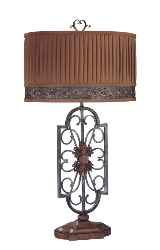 "Ambience 10360 1 Light 33.5"" Height Table Lamp with Brown / Grey Shade"