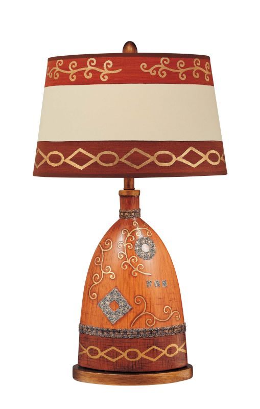 """Ambience 10996 1 Light 32"""" Height Table Lamp wit Red / Cream Shade Red"""