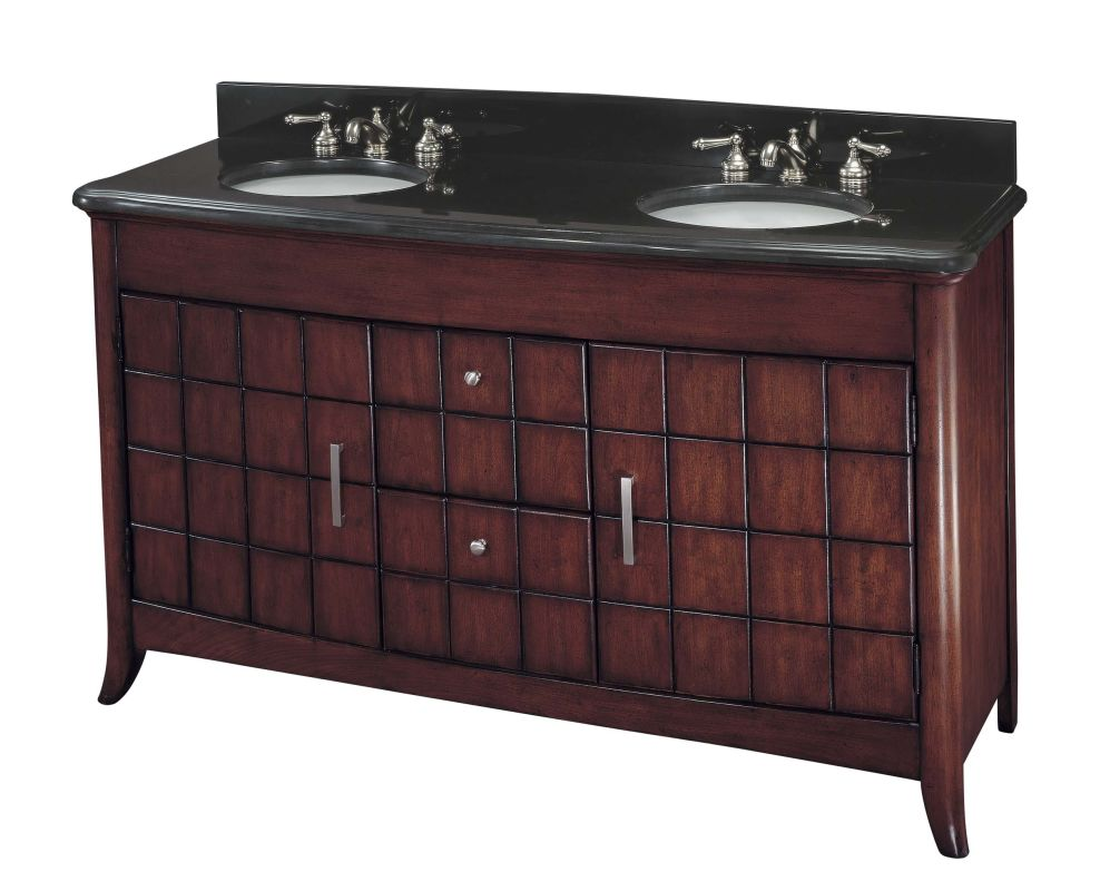 Ambience 44518 Double Vanity in Cherry Finish with Black Stone Sale $1759.92 ITEM: bci1335360 ID#:44518-0 UPC: 840253051004 :