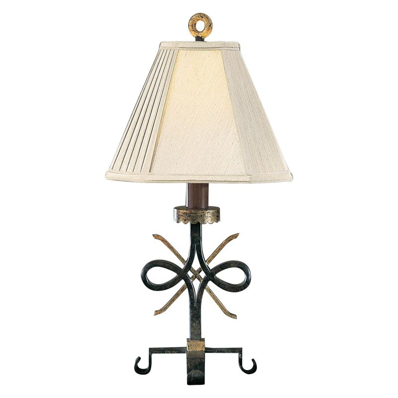 "Ambience AM 10271 1 Light 24"" Height Table Lamp with Cream Shade Black"