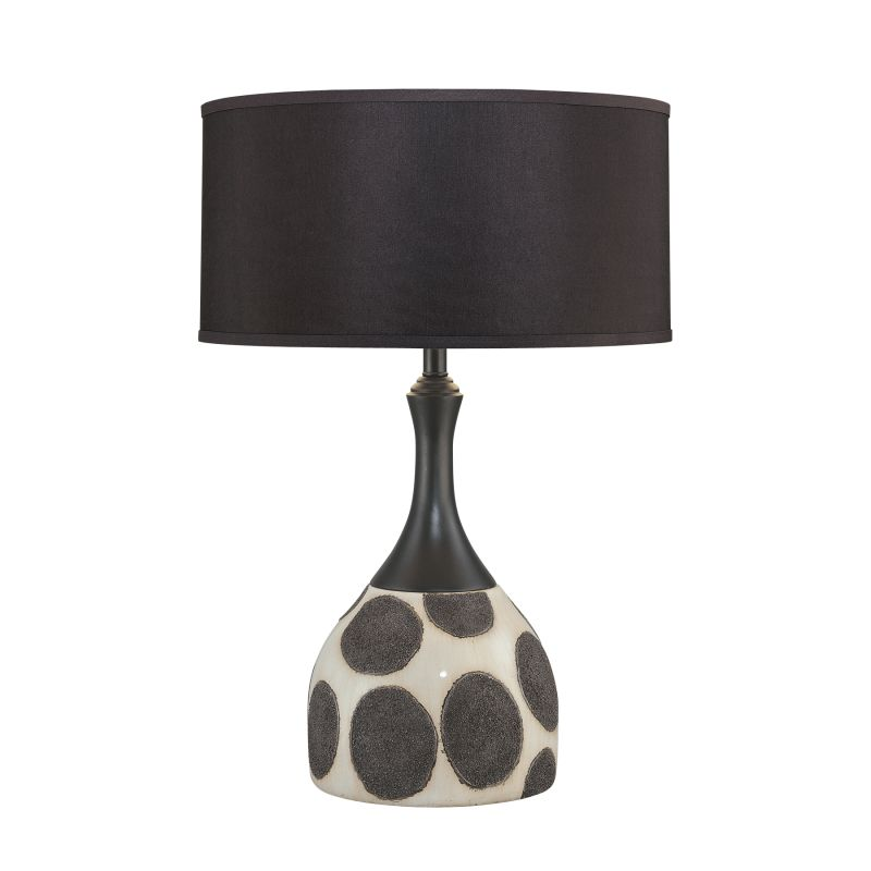 """Ambience AM 10174 1 Light 28"""" Height Table Lamp with Black Shade Aged"""