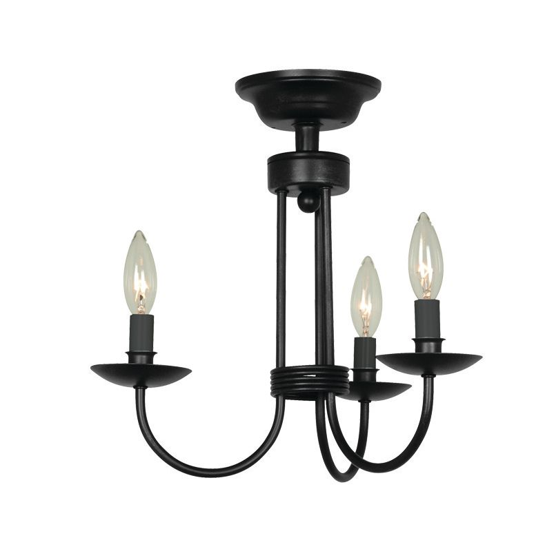 black wrought iron 3 light semi flush ceiling fixture lightingdirect