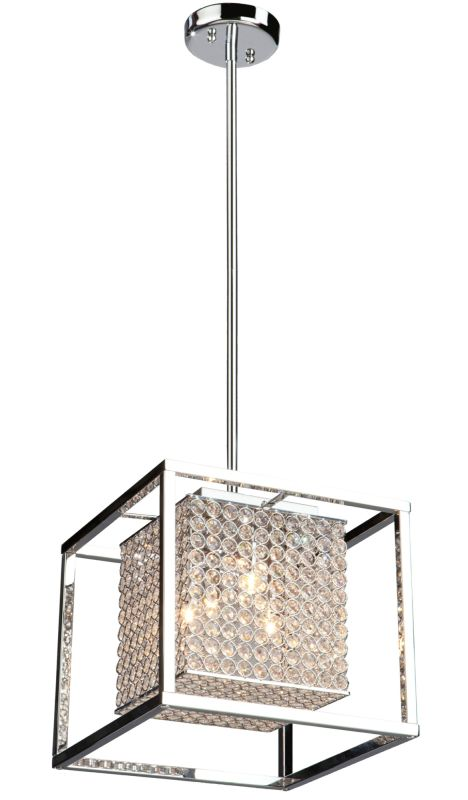 Artcraft Lighting AC10324 Vega 4 Light Crystal Pendant Stainless Steel