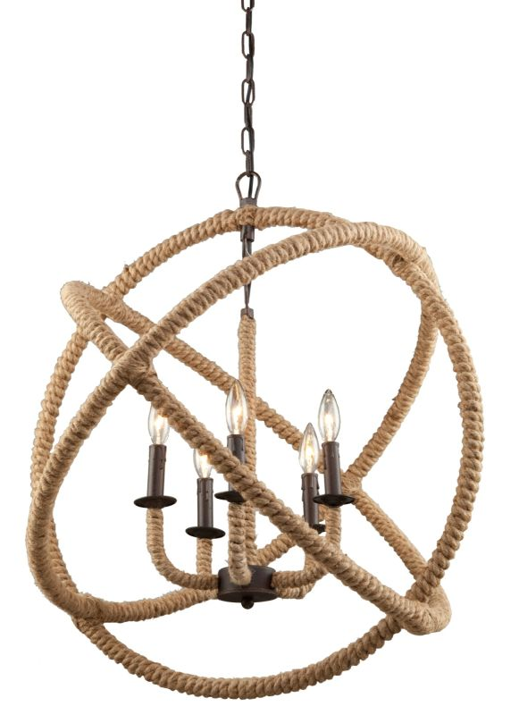 Artcraft Lighting Cl275 Bronze Danbury 5 Light Rope Globe