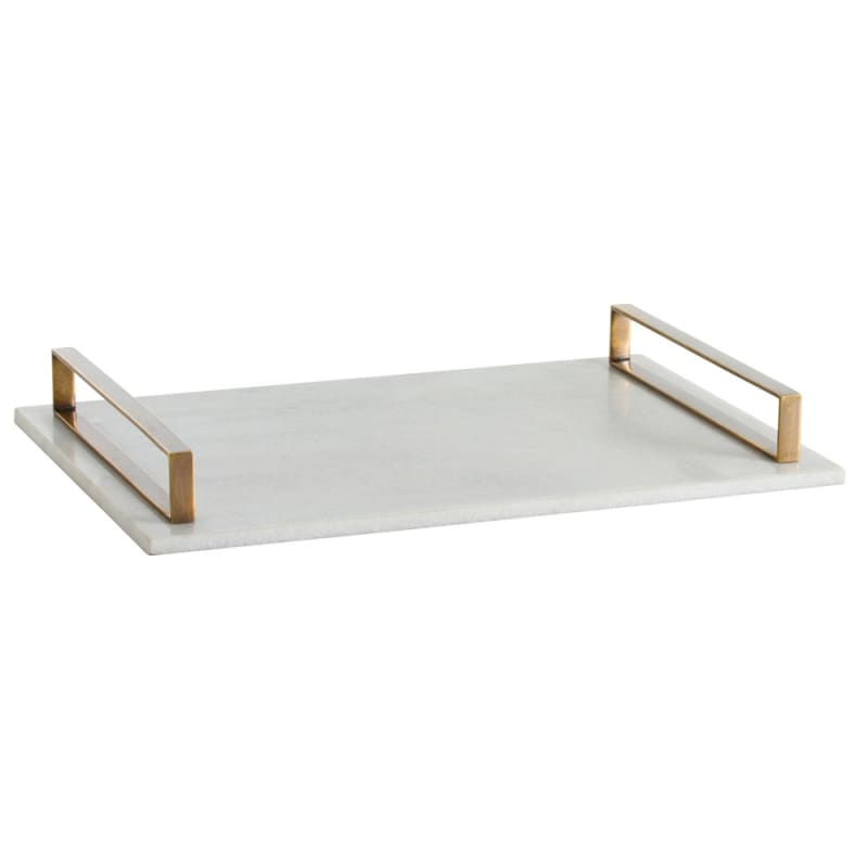 Arteriors 2180.6133 Exton 22 Inch Wide Marble Tray Vintage Brass Home