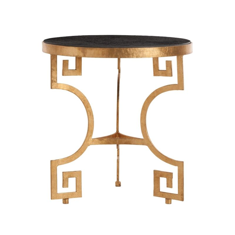 "Arteriors 2449 Bonnie 24"" Diameter Marble Top End Table Gold Leaf"