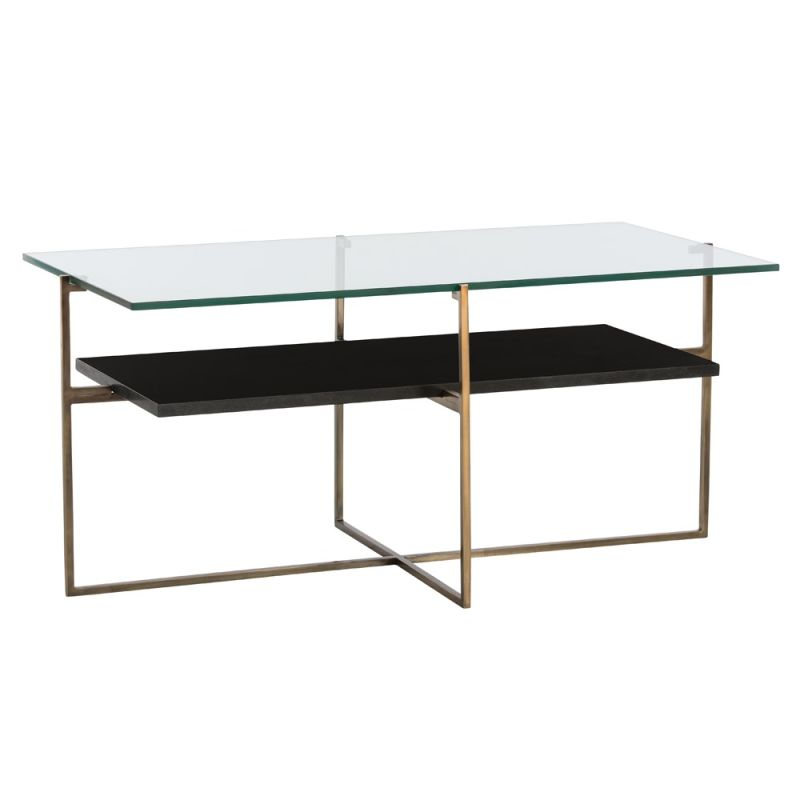 Arteriors 2550 Barnes 40 Inch Long Glass Top Steel Coffee Table