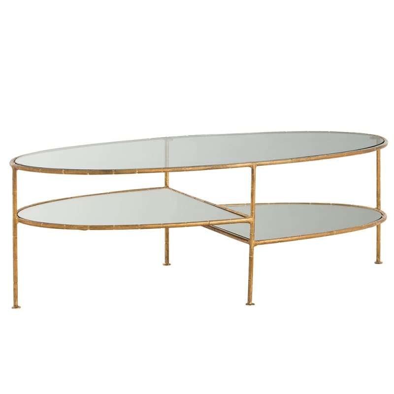 Arteriors 2724 Emilia 43 Inch Long Glass Top Iron Coffee Table Gold