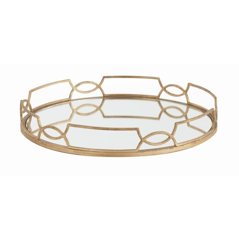 Arteriors 3115 Cinchwaist 20 Inch Wide Iron Tray Gold Leaf Home Decor