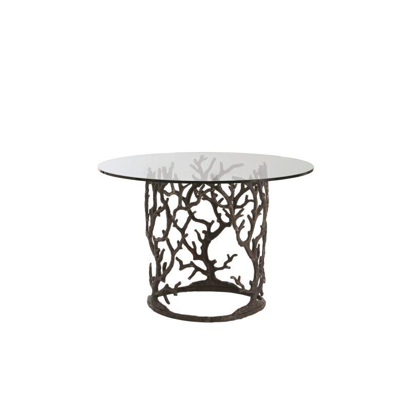"""Arteriors 3195-48 Ursula 48"""" Diameter Glass Top End Table Natural Iron"""