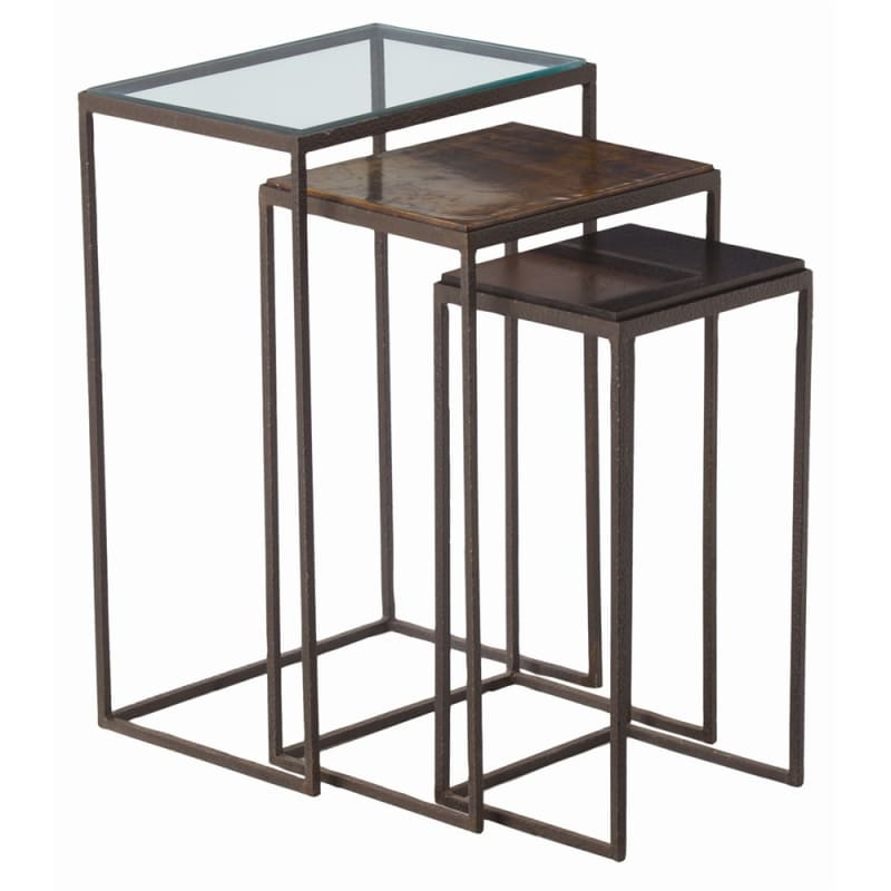 Arteriors 6524 Knight 3 Piece Iron Nesting End Table Set Dark Natural