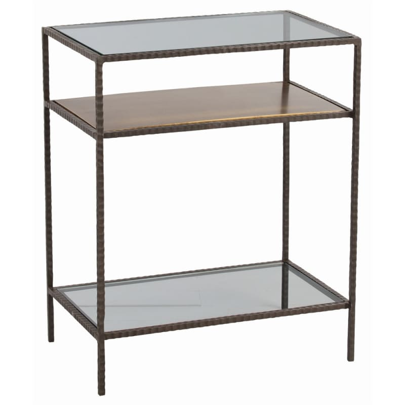 Arteriors 6650 Sinclair 20 Inch Long Glass Top Iron End Table Oxidized