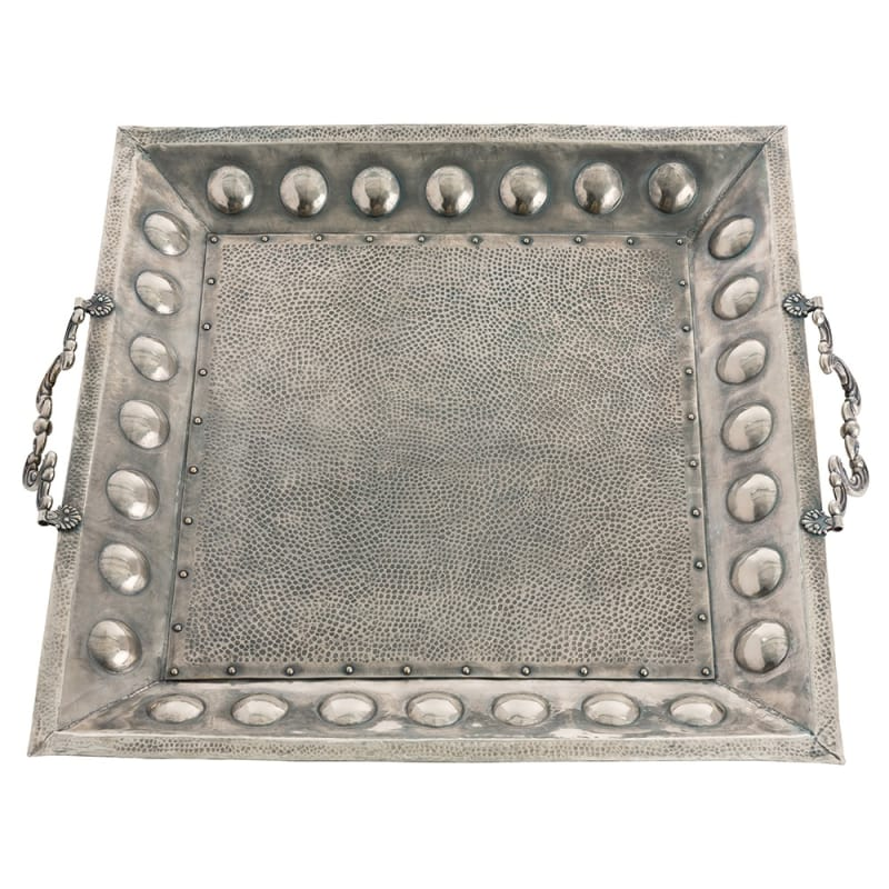 Arteriors DS2020 Antony 33.5 Inch Wide Brass Tray Antique Silver Home
